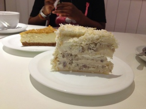 Back: Macadamia cheesecake. Front: Ube yam