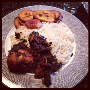 Spaghetti, smoked chicken (if I remember correctly), efo riro (usually made with boiled spinach) and plantain.