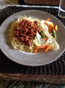 Finally, something healthy. :D Spaghetti with a minced beef sauce served with a salad.