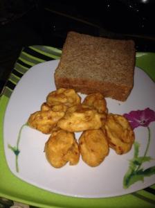 Akara and wheat bread. The healthier choice. :D