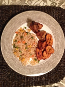 After... Fried rice, smoked chicken (if I remember correctly) and fried plantain.