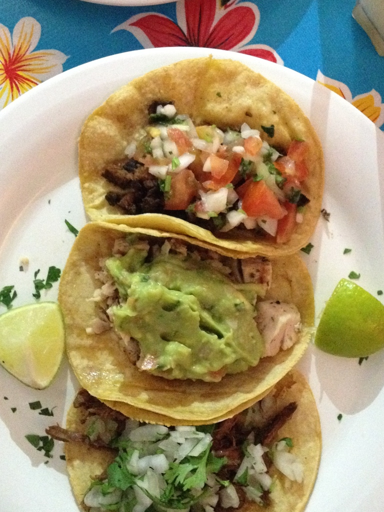 From top: beef, chicken, beef tacos