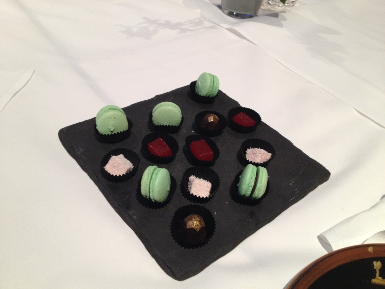 Macarons, chocolate, marshmallows and jelly